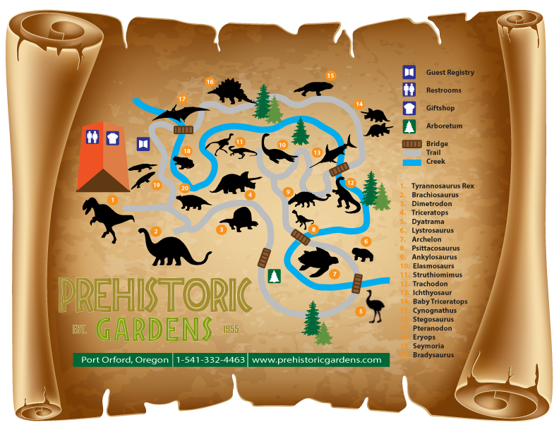 A guide map of the Prehistoric Gardens
